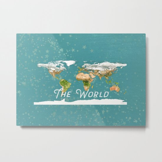 Teal World Star Map Metal Print