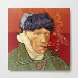 Vincent van Gogh Self-portrait with Bandaged Ear and Pipe Metal Print