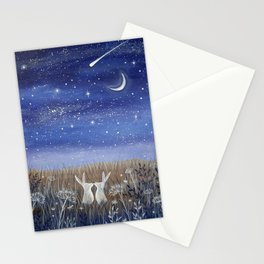 Hares and the Crescent Moon Stationery Cards