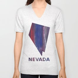 Nevada map outline Red Blue nebulous watercolor Unisex V-Neck