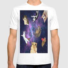 Cats in Space MEDIUM White Mens Fitted Tee