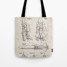 Nasa Space Shuttle Patent - Nasa Shuttle Art - Antique Tote Bag