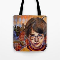 quidditch Tote Bags featuring Harry's First Quidditch Match by S.G. DeCarlo