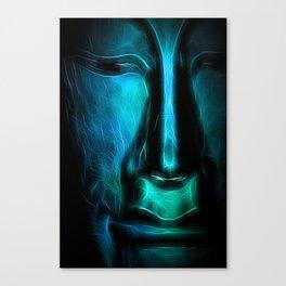 BuddhaFace cyanblue Canvas Print