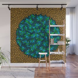 - blue flore in cosmogold - Wall Mural
