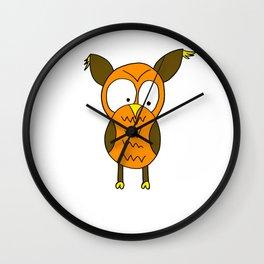 Hand drawn funny looking owl Wall Clock