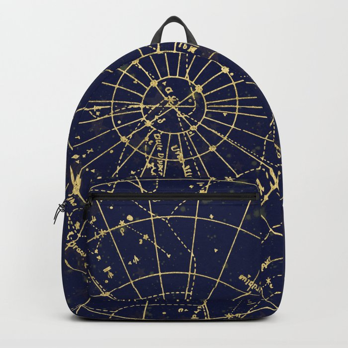 Metallic Gold Vintage Star Map 2 Backpack