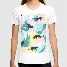 Black panthers modern tropical geometric background T-shirt