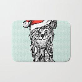 Christmas Dog In Santa Clause Hat Bath Mat