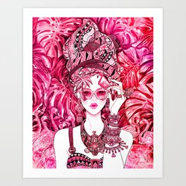 Summer Time_Flamingo Beach_pink Art Print