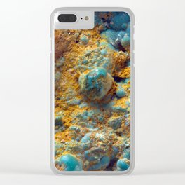 Bubbly Turquoise with Rusty Dust Clear iPhone Case