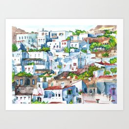 Panorama of Lindos Art Print