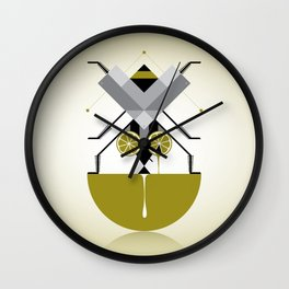 Fly on lime Wall Clock