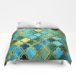 Moroccan Quatrafoil Pattern, Vintage Stained Glass, Blue, Green and Gold Comforters
