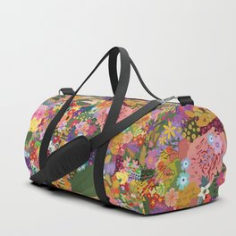 Colorful Flower & Foliage Pattern Duffle Bag