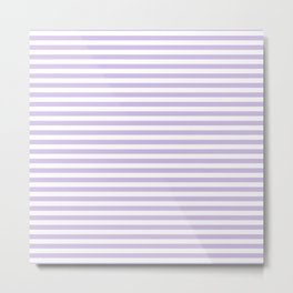 Modern lavender white trendy striped geometrical Metal Print