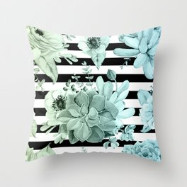 Succulents in the Garden Teal Blue Green Gradient with Black Stripes Throw Pillow