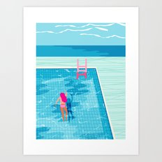 In Deep - memphis throwback swimming athlete palm springs resort vacation country club infinity pool Art Print