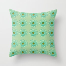 Mint Green Real Daisy Flowers Pattern Throw Pillow
