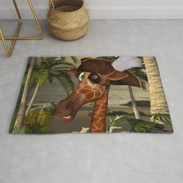 Cute, funny pirate giraffe Rug