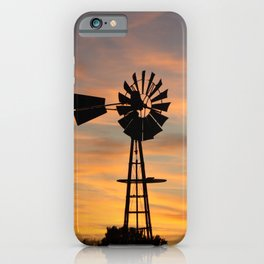 Kansas Golden Sky with a Windmill silhouette  iPhone Case