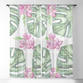 Tropical Flowers And Monstera #society6 Sheer Curtain