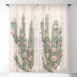 CACTUS AND ROSES Sheer Curtain