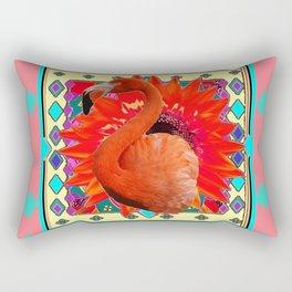 CORAL-GREY ART DECO TURQUOISE-SAFFRON FLAMINGO PORTRAIT ABST Rectangular Pillow