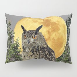 GREY WILDERNESS OWL WITH FULL MOON & PINE TREES Pillow Sham