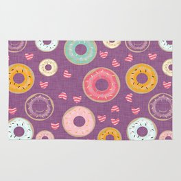 hearts and donuts purple Rug