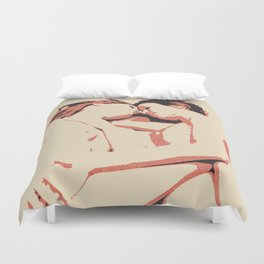 Girls love to play naughty, dirty, kinky - sexy conte abstract, nude erotic, hot naked lesbians Duvet Cover