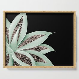 Agave Finesse Glitter Glam #2 #tropical #decor #art #society6 Serving Tray