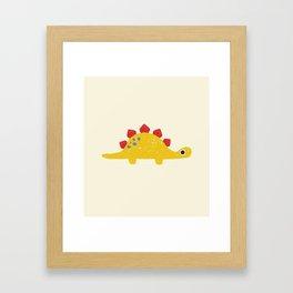 Cute Yellow Stegosaurus Dinosaur Framed Art Print