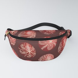 Realistic easter red dyed eggs pysanka Fanny Pack