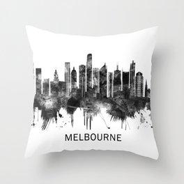 Melbourne Australia Skyline BW Throw Pillow