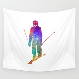 Woman skier skiing jumping 01 in watercolor Wall Tapestry