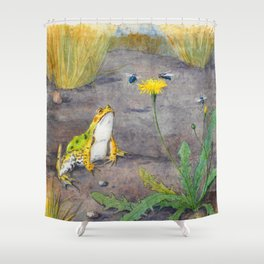 Urban Frog - Watercolor Painting Shower Curtain