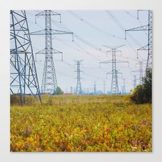 Landscape with power lines Canvas Print