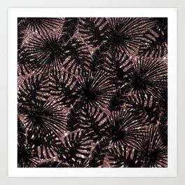 Modern rose gold black glitter swiss cheese plant tropical floral pattern Art Print