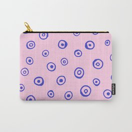 Polka Dot Pink & Blue Illustration Carry-All Pouch