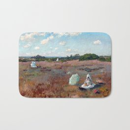 William Merritt Chase Gathering Autumn Flowers Bath Mat