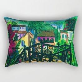 Garden Terrace View Rio de Janiero, Ipanema Beach, Copacabana Beach & Guanabara Bay by E. Cavalcanti Rectangular Pillow