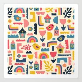 Scandinavian Birds Flowers Rainbows Kids Pattern Art Print