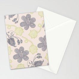 Modern vintage mint green ivory gray floral Stationery Cards