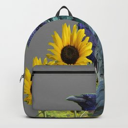 THREE CROWS/RAVENS  YELLOW SUNFLOWERS ON GREY ART Backpack