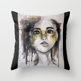 HER, A Watercolour Portrait Throw Pillow