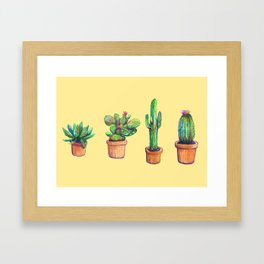 Cactus on Yellow Framed Art Print