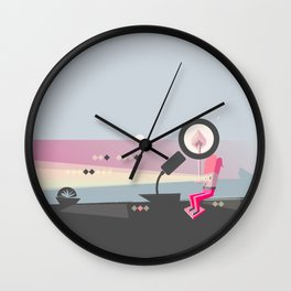 Melting the Wood with Sunset Thoughts Wall Clock