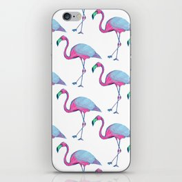 Pink Flamingos with blue wings iPhone Skin