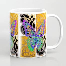 Fantasy World Butterfly in Black- Gold Pattern Art Design Coffee Mug